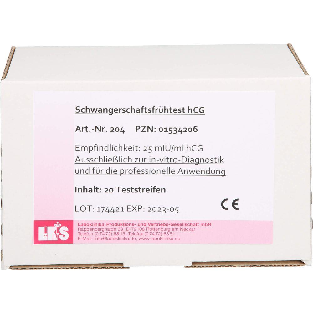 SCHWANGERSCHAFTS-FRÜHTEST HCG Teststreifen Urin