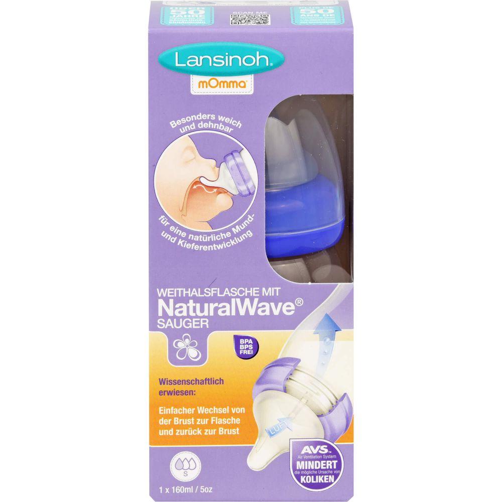 LANSINOH Weithalsflasche 160 ml mit Sauger S