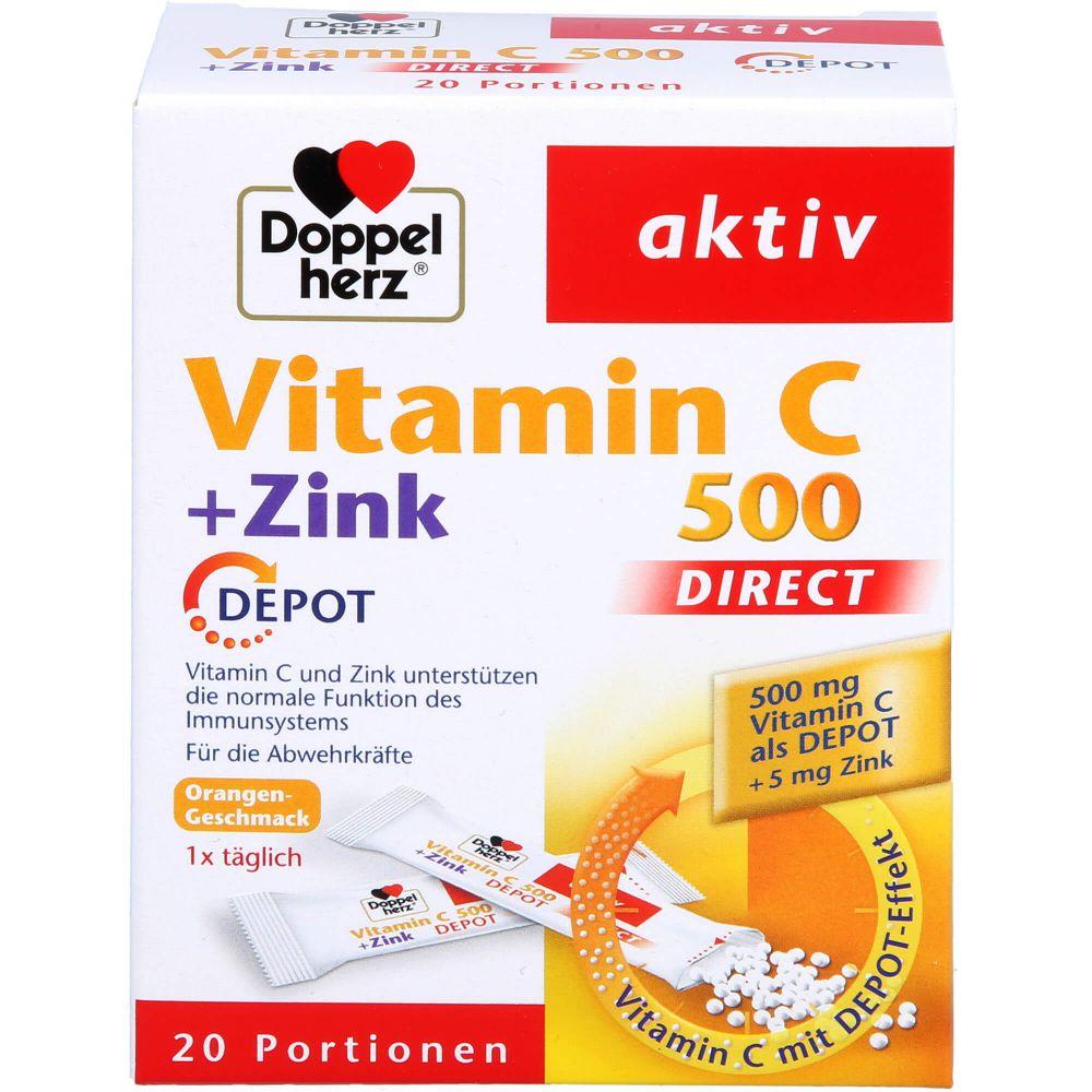 DOPPELHERZ Vitamin C 500+Zink Depot DIRECT Pellets