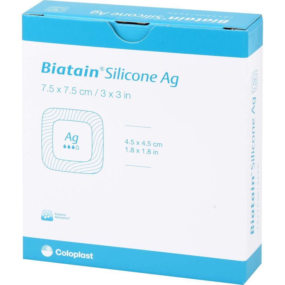BIATAIN Silicone Ag Schaumverband 7,5x7,5 cm