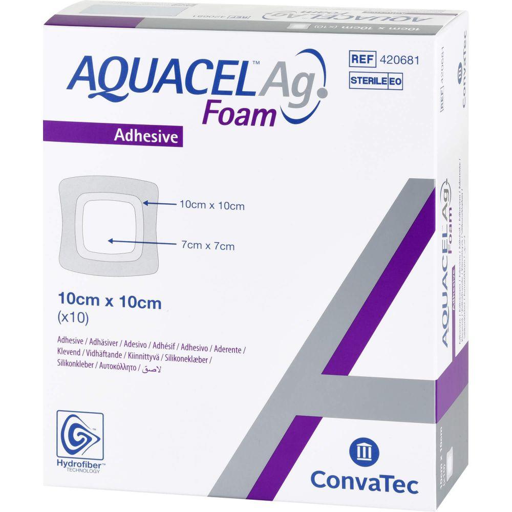 AQUACEL Ag Foam adhäsiv 10x10 cm Verband