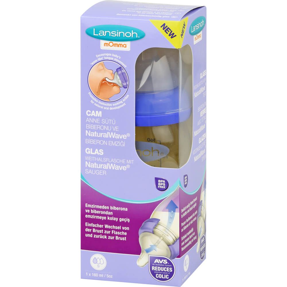 LANSINOH Weithalsflasche Glas 160 ml mit Sauger S