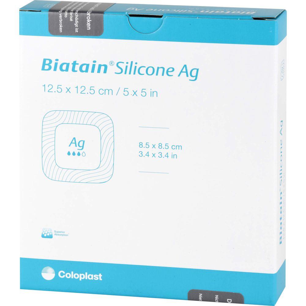 BIATAIN Silicone Ag Schaumverband 12,5x12,5 cm