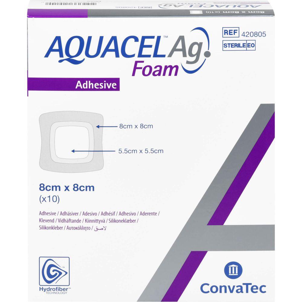 AQUACEL Ag Foam adhäsiv 8x8 cm Verband