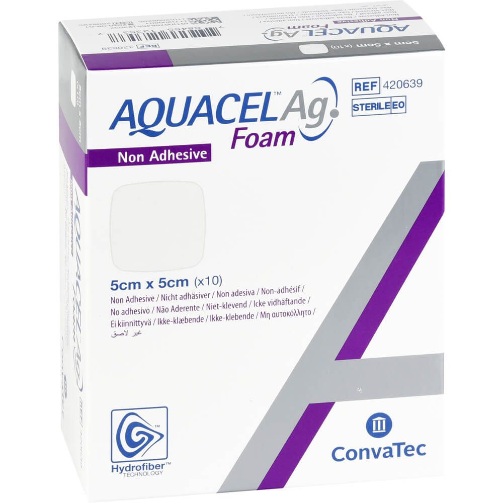 AQUACEL Ag Foam nicht adhäsiv 5x5 cm Verband