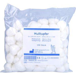 MULLTUPFER 20x20 cm pflaumengroß unsteril