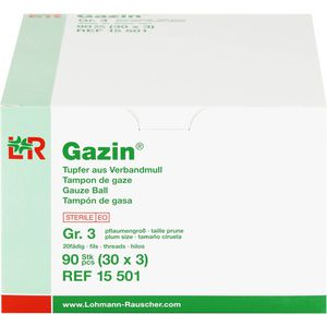 GAZIN Tupfer pflaumengroß steril Gr.3 20fädig