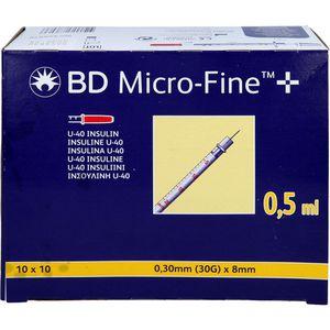 BD MICRO-FINE+ Insulinspr.0,5 ml U40 8 mm