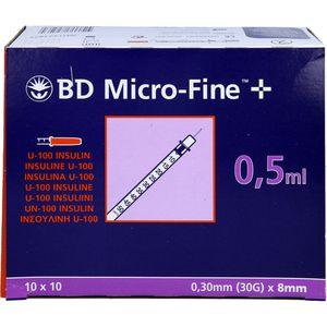 BD MICRO-FINE+ Insulinspr.0,5 ml U100 8 mm