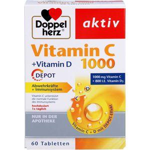 DOPPELHERZ Vitamin C 1000+Vitamin D Depot aktiv