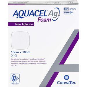 AQUACEL Ag Foam nicht adhäsiv 10x10 cm Verband