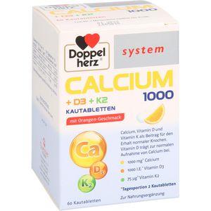DOPPELHERZ Calcium 1000+D3+K2 system Kautabletten