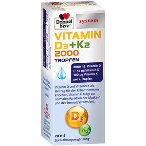 DOPPELHERZ Vitamin D3 2000+K2 Tropfen