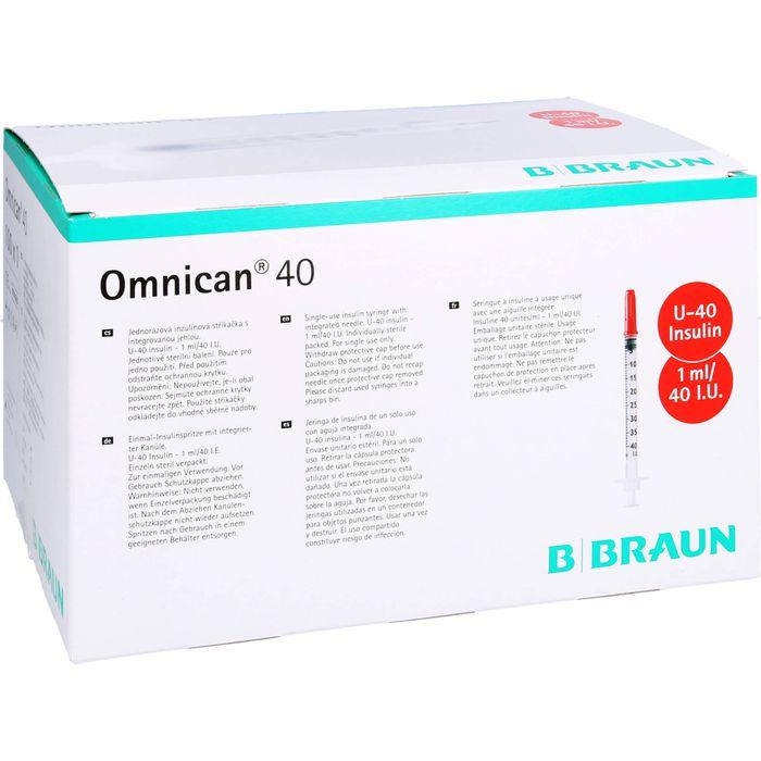 OMNICAN Insulinspr.1 ml U40 m.Kan.0,30x12 mm einz.