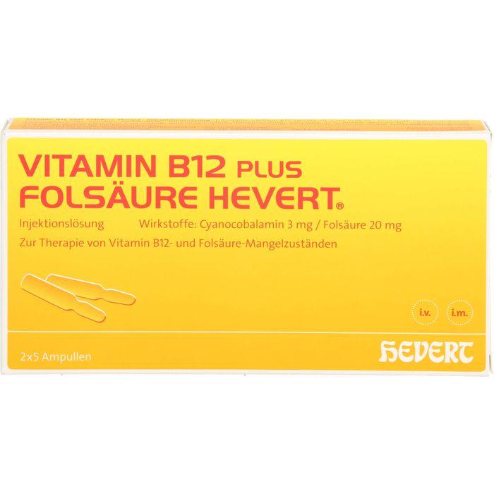 VITAMIN B12 PLUS Folsäure Hevert a 2 ml Ampullen
