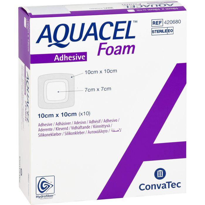 AQUACEL Foam adhäsiv 10x10 cm Verband