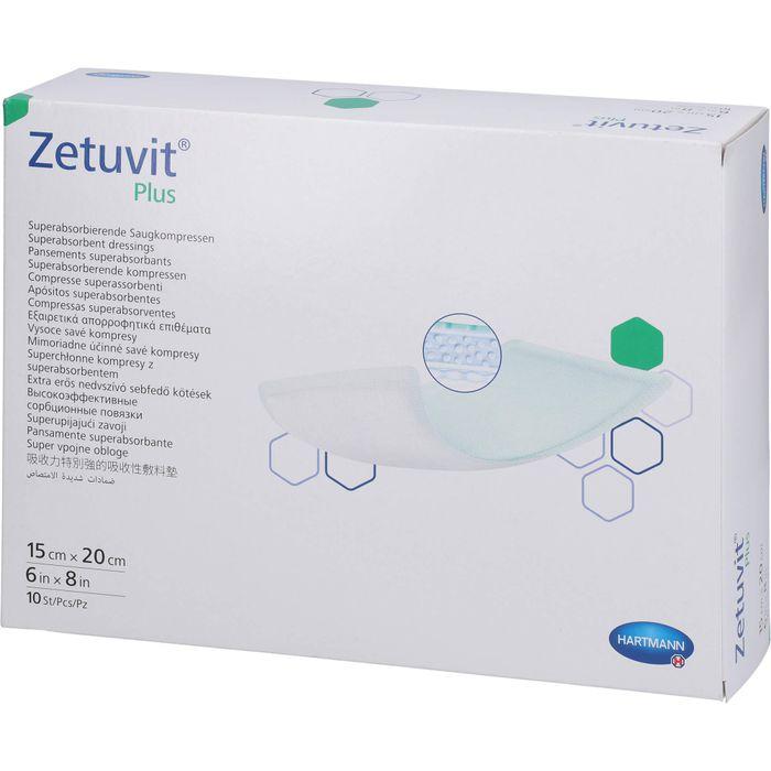 ZETUVIT Plus extrastarke Saugkompr.steril 15x20 cm